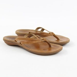 OluKai U'i Sahara Leather Thong Flip Flop Sandals